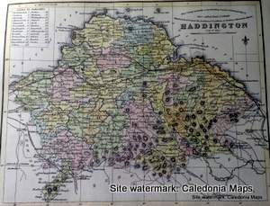 County Map of Scotland - 1847 - East Lothian (known as Haddington)