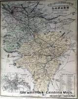 County Map of Scotland - 1847 - Lanarkshire (inc Glasgow)