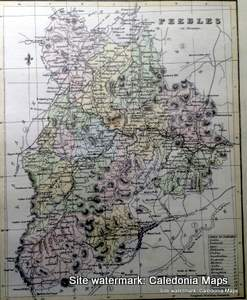 County Map of Scotland  - 1847 - Peeblesshire