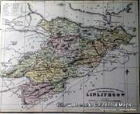 County Map of Scotland - 1847 -  West Lothian (Linlithgow, as it was known then)